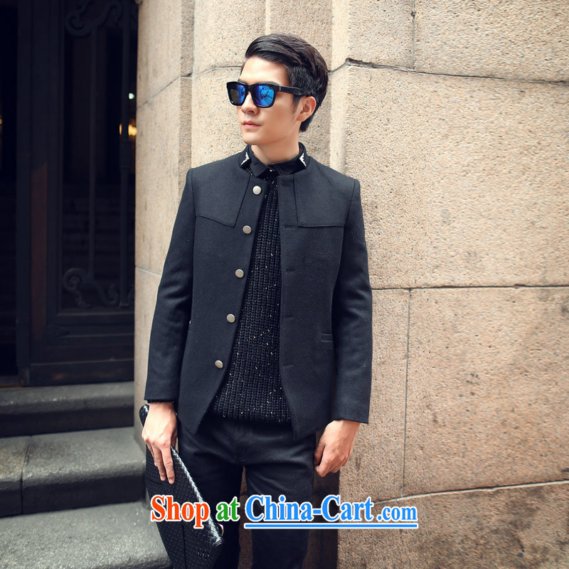 The Youngor Central 2014 autumn and winter, the men's men's Korean leisure jacket, collar wool? The Beauty black smock XXL