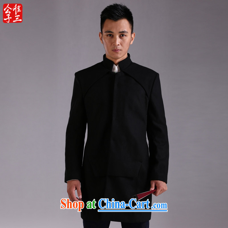 Only 3 Chinese wind no wind jacket, collar wool coat is the improved Chinese Chinese jacket men's National Autumn Black Movement (XXL)