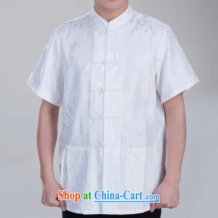 Mute the Chinese men's short-sleeved Tang in older Chinese men and Chinese summer Father's Day Gift beige 185/104 (XXXXL)