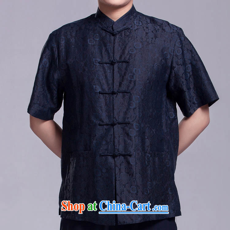 Blue MR NGAN KAM-CHUEN _men's short-sleeved Tang replace summer older sauna silk shirt incense cloud yarn silk shirt such as the 165 _92 _L_