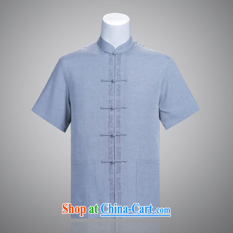 Fairview Park Man Tang replace summer short sleeve pure cotton Ma Tang replace older Tang replace manually the Snap embroidery light gray 190 / 108 (XXXXL)