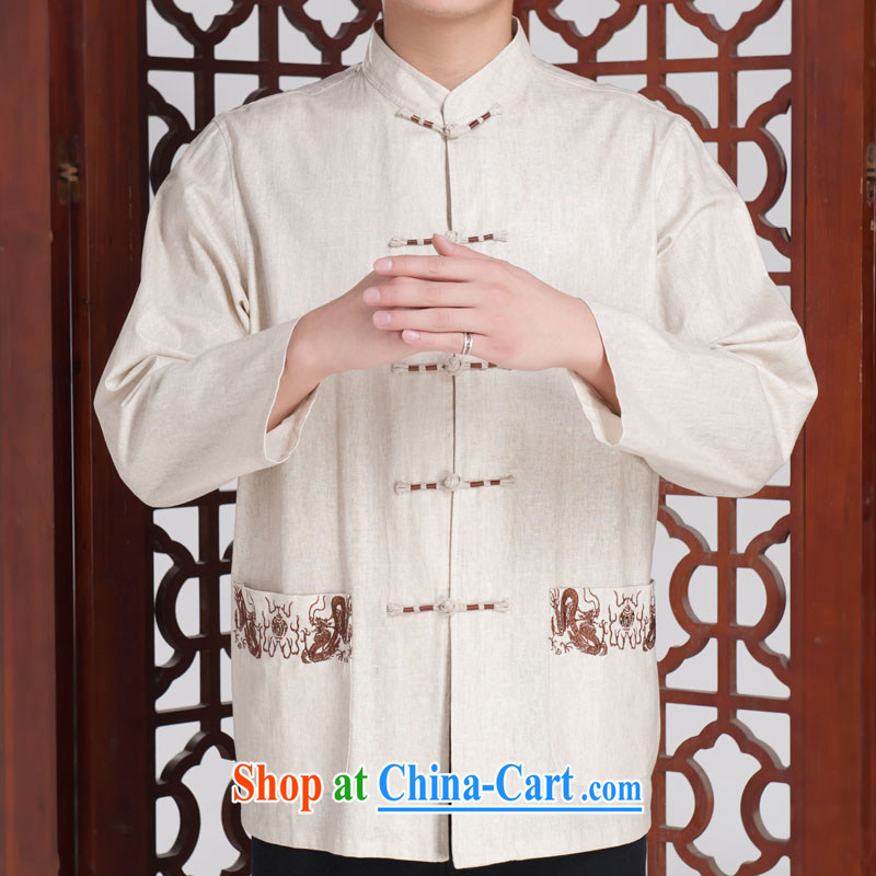 The Jinhua older Chinese Tang replace men long-sleeved fall short with the solid Shirt Fit cotton linen dark gray 180/96 (XXXL)