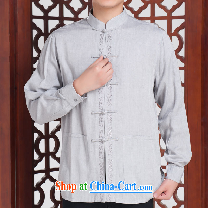 Splendid solid T-shirt men's Chinese Autumn with long-sleeved, older Chinese clothing ethnic wind features solid shirt light gray 185/104 A (XXXL)