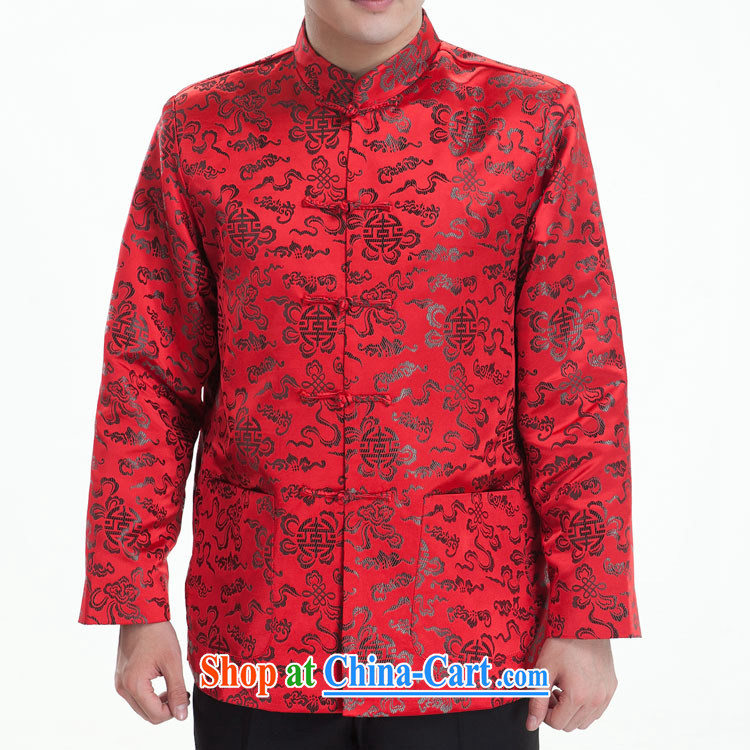 Sang-hee-tang with men and men's Chinese brocade coverlets Tang replace Tang replacing long-sleeved Tang with autumn and winter, older red _winter clothes folder cotton_聽185 _ 104 _XXXXL_