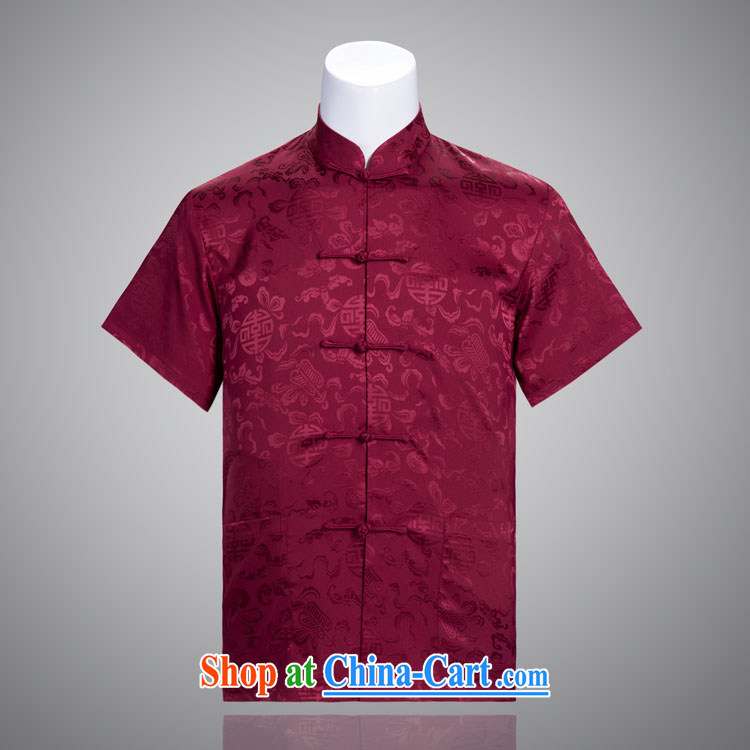 Sang-hee-Man Tang replace summer short-sleeved, older Chinese Chinese clothing silk Chinese father's Day Gift red 185/104 A (XXXXL)