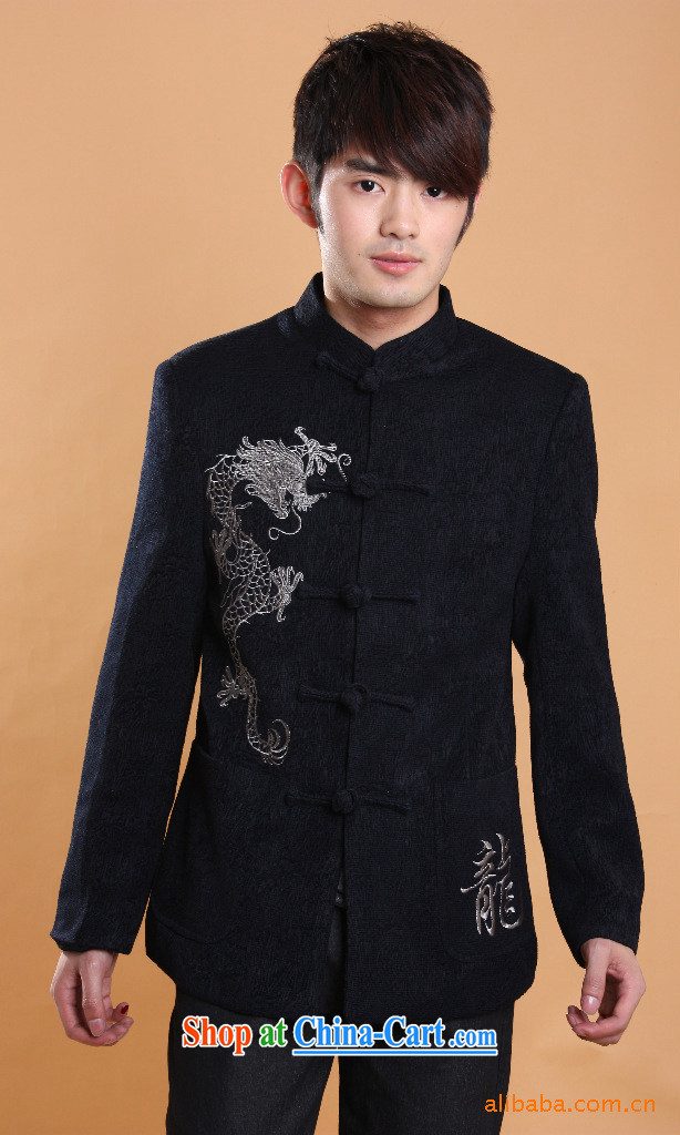 Men's Chinese long-sleeved T-shirt 2013 spring new leisure Chinese wool embroidered dragon large code jacket package mail black 170/88 (M)