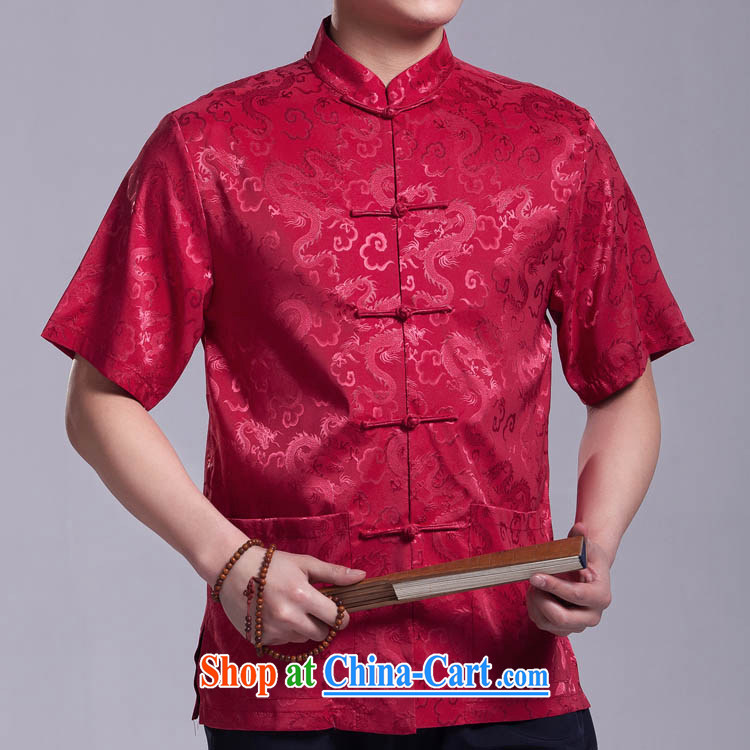 Dragon Chinese men and a short-sleeved summer the older Chinese national costumes silk-tie China wind silver 190 _ 108 _XXXXL_
