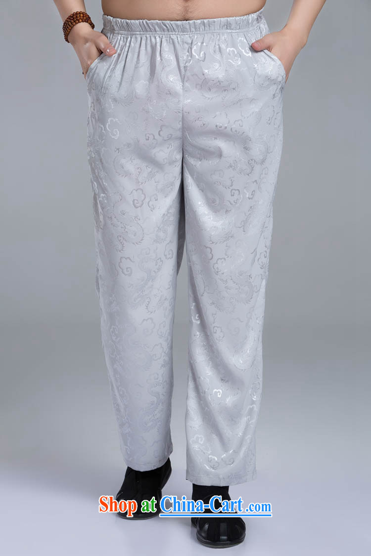Dragon pants Chinese men and packaged with trouser press, elderly Chinese national costumes silver XXXL