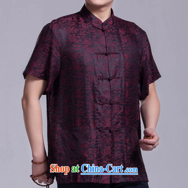 CHEUNG informed men Tang replace summer short-sleeved fragrant cloud yarn silk shirts, older upscale Chinese dress as 185_104, XXXL_