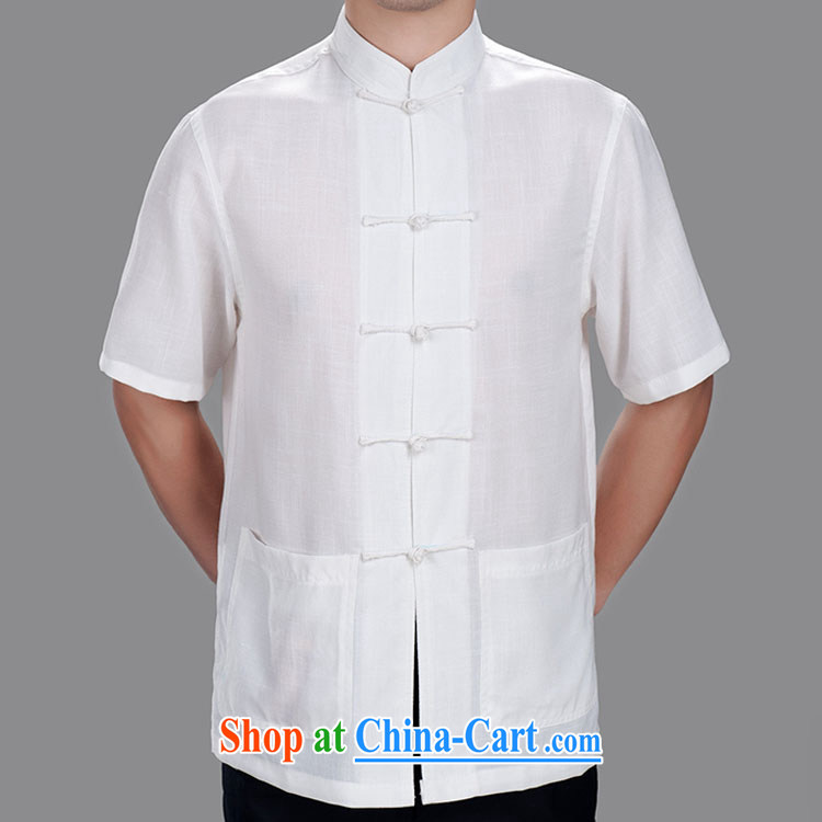 solid-colored Chinese men and cotton the short-sleeved summer older China wind jacket lightweight and comfortable summer the mandatory yellow 175/92 (XL)