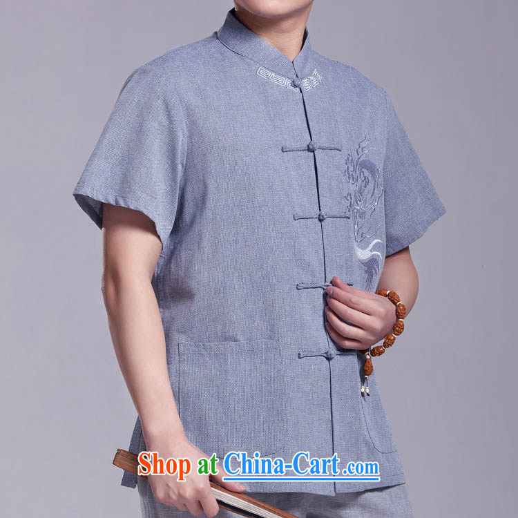 Yiu-Kowloon Chinese men and summer short-sleeved shirts, older Chinese Dress upscale cotton Ma T-shirt hand-tie light blue 185/104 (XXXXL)