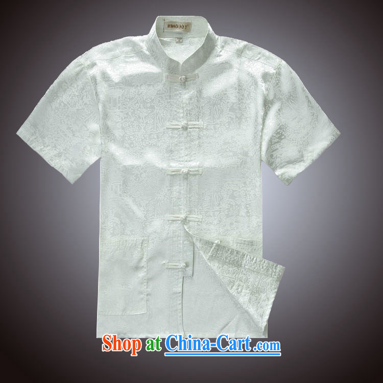 The River During the Qingming Festival men Tang replace summer T-shirt silk Tang on a short-sleeved, elderly father red 190/108 A (XXXXL)