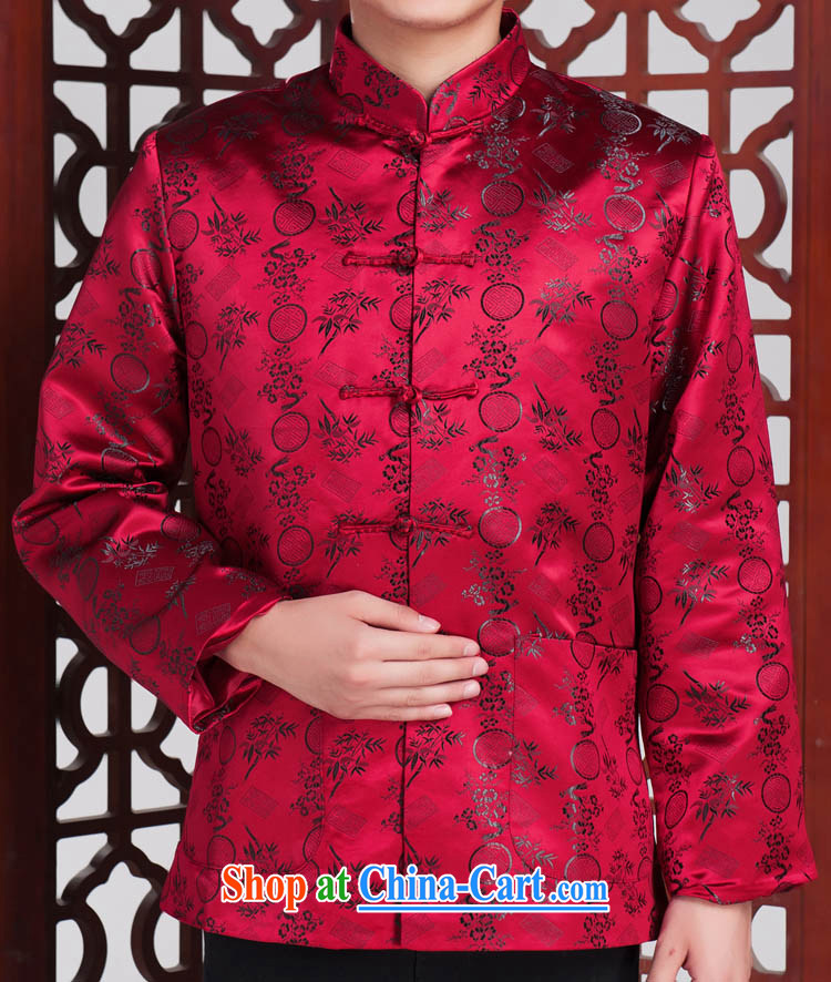 The bamboo Man Tang in brocade coverlets elderly long-sleeved Tang with autumn and winter red 185 / 100 (XXL)