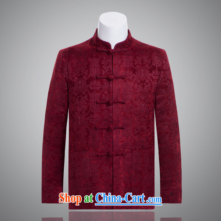 Double-fish Bok-su tang on the autumn and winter jackets, velvet rolled up their sleeves, elderly father manually load the Snap wine red 185 / 104 (XXXL)