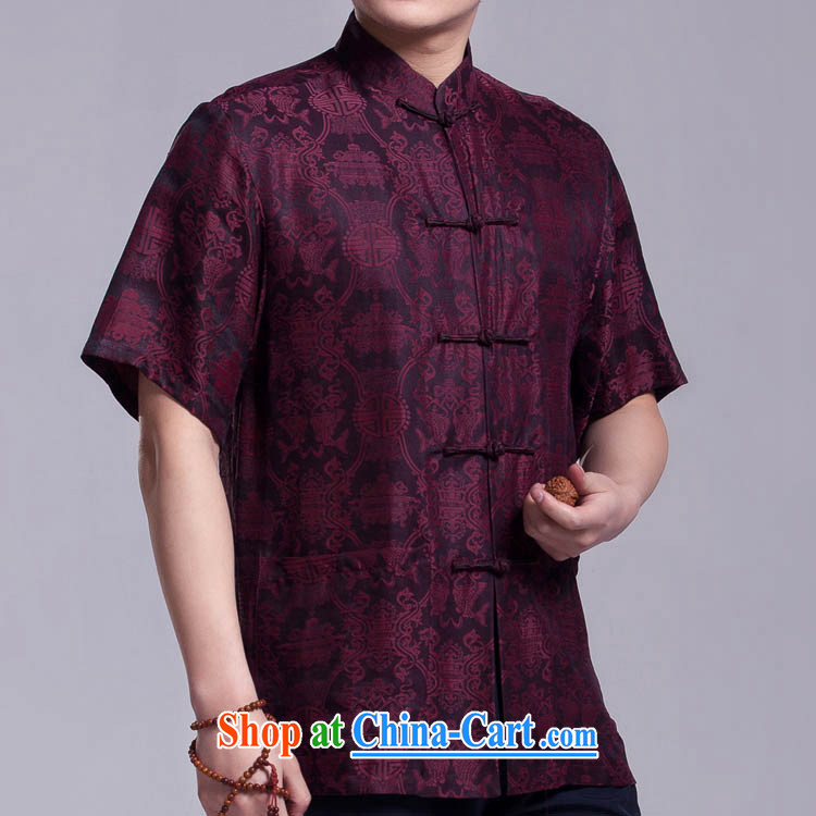 Double-fish men's Chinese summer, older Chinese fragrant cloud yarn shirt silk short-sleeved-tie, for such as the 185 / 104 (XXXL)