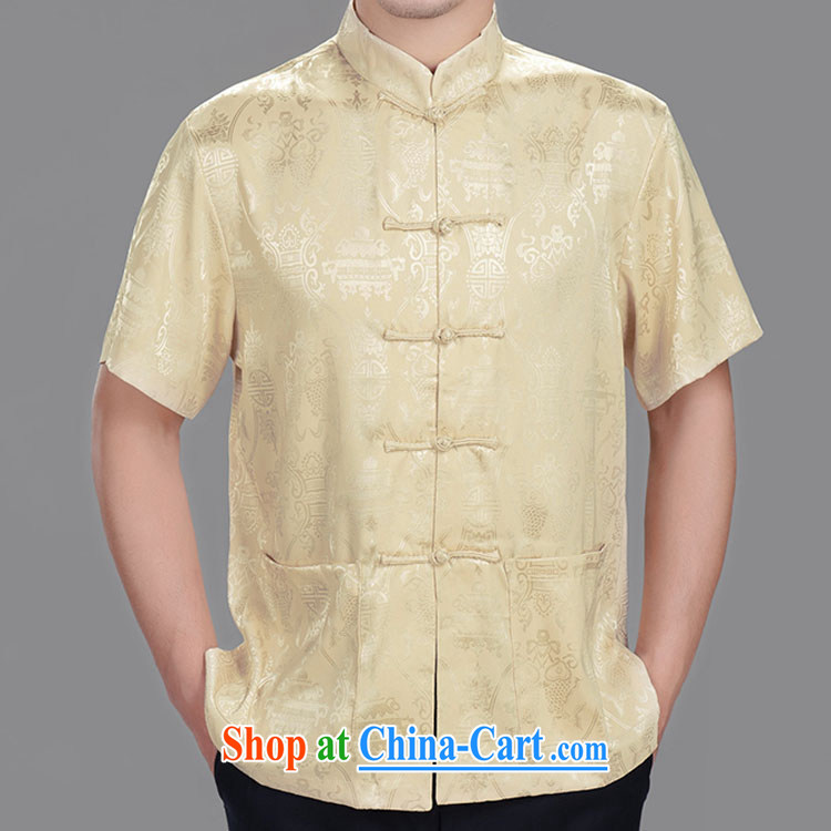 Double-fish longevity, older men with short summer short-sleeved T-shirt and Chinese silk 2014 summer shirt silver 185/104 A (XXXL)