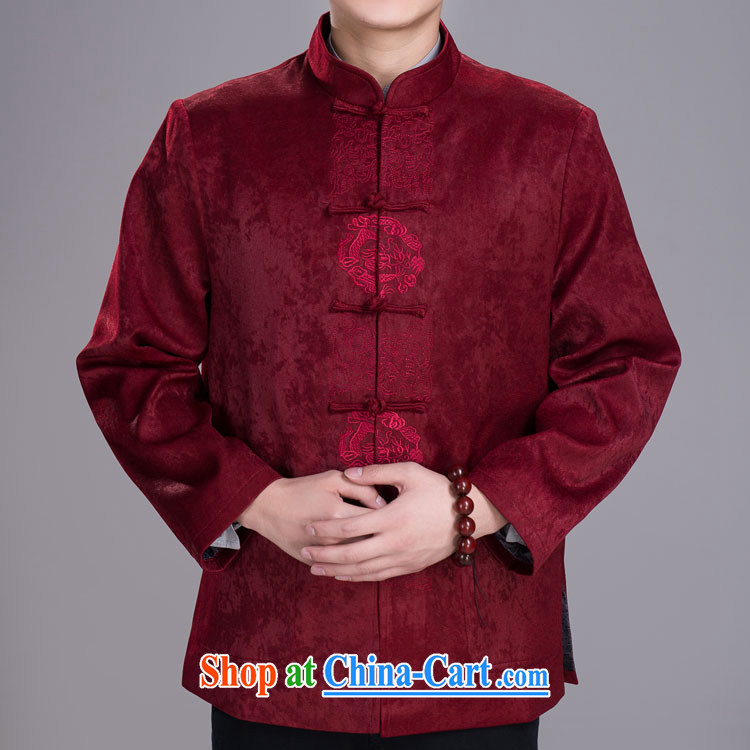 in reuniting old men Tang with winter jackets chamois leather lint-free Chinese wine red 185/104 A (XXXL)