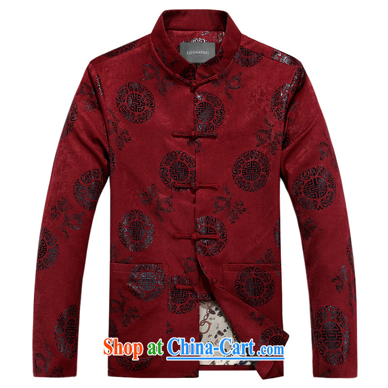 Boutique Chinese men's long-sleeved men's spring jacket T-shirt Chinese men's clothing ethnic clothing father red winter, XXXL/190