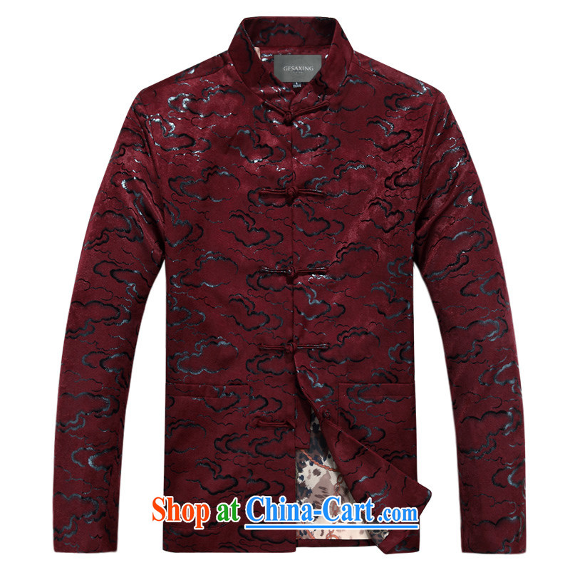 Spring and Autumn and new middle-aged and older Xiangyun long-sleeved jacket Ethnic Wind up for the buckle older jacket relaxed comfortable Xiangyun long-sleeved jacket father with purple, winter XXXL_190