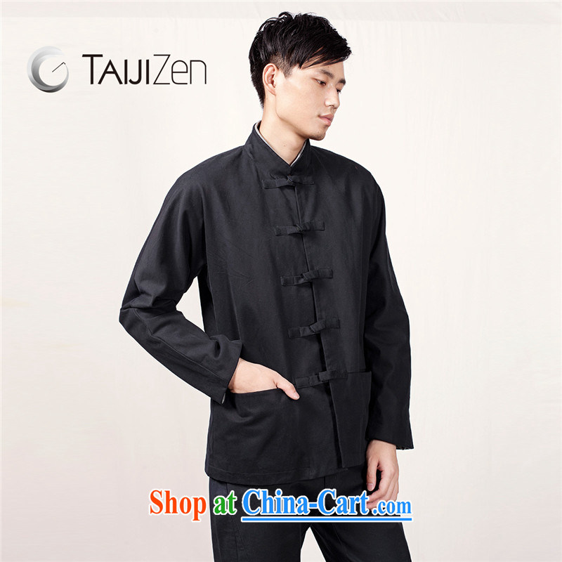 TAIJIZEN Tai Chi retreat 2014 new Autumn and Winter Fashion men China Tang with dark tie Han-dark blue XXL