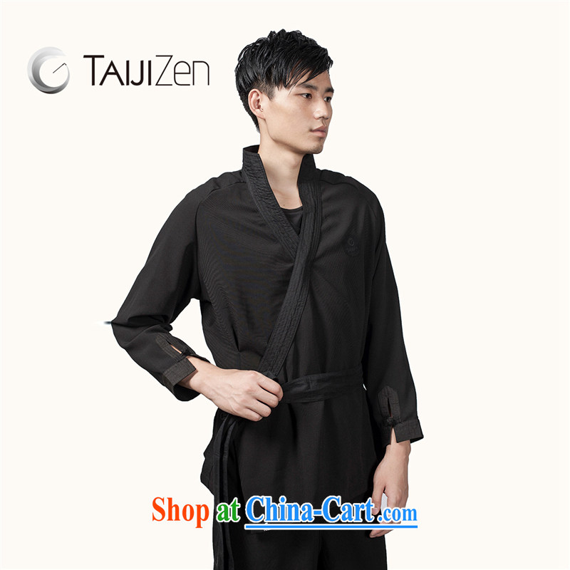 TAIJIZEN Tai Chi retreat 2014 new Autumn and Winter Fashion Tai Chi uniforms men's long-sleeved black cloud the jacket black XXL
