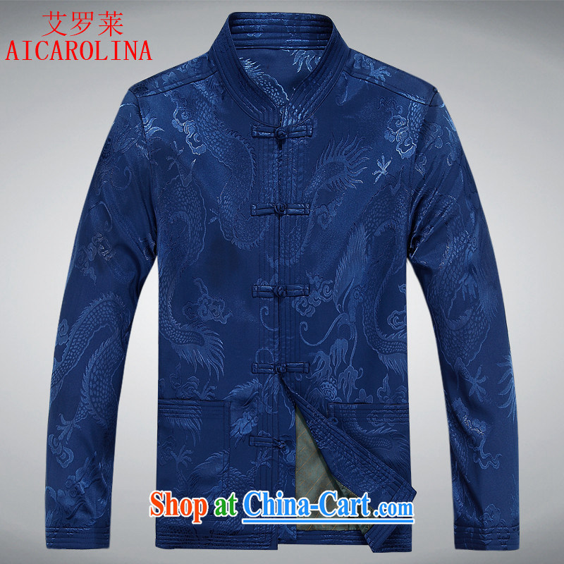 The Spring and Autumn Period, the old men Tang with long-sleeved jacket birthday grandfather Tang replace male jacket China wind Chinese jacket blue XXXL