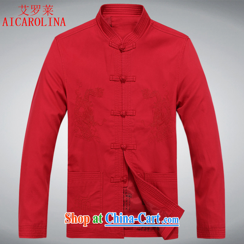 The fall, the men's smock thick middle-aged men wedding dresses dedicated in Dragon jacket and collar China wind men Tang red XXXL