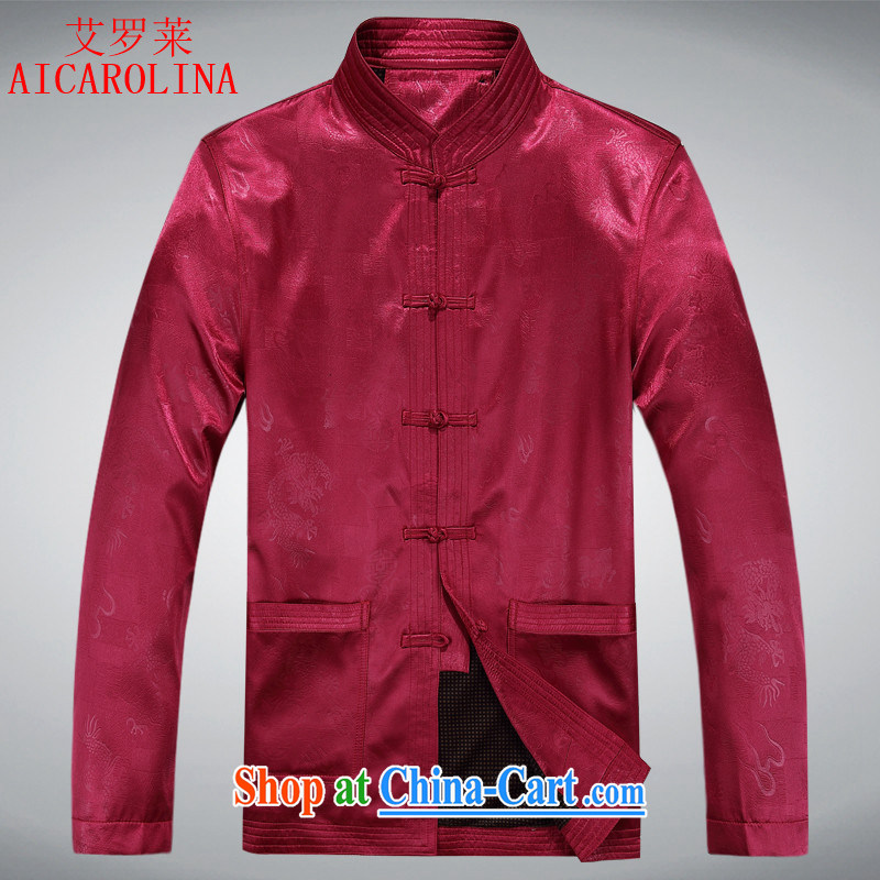 The long-sleeved sweater, autumn and winter Chinese Chinese Chinese wind jacket folder thick ethnic clothing red XXXL
