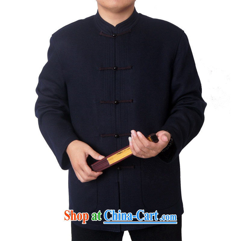 The British, Mr Rafael Hui, middle-aged and older blessed birthday fall and winter with Chinese men and upscale jacket wool Chinese, for Tang jackets 1497 dark blue 190