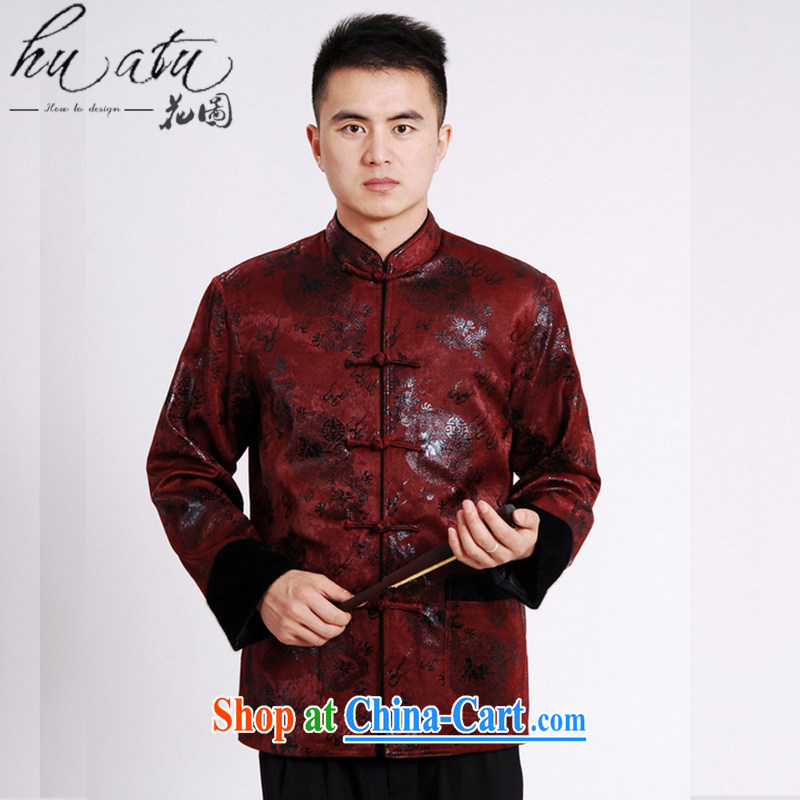 Spend the autumn and winter, new leader, new Chinese T-shirt, lint-free cloth water marten hairs in the cotton thick Chinese male Tang - A wine red 3 XL