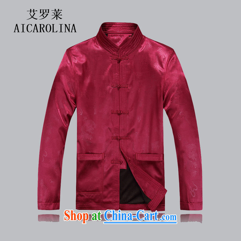 The Carolina boys Chinese jacket men, older Tang jackets Chinese, for the elderly, the fall arrest jacket T-shirt red L