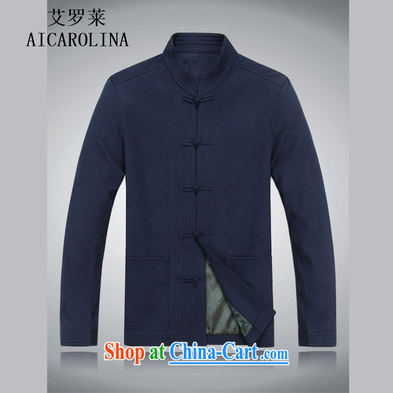 The elderly, fall clothes with men older people Chinese jacket jacket Chinese Disk Port, older Chinese men's long-sleeved dark blue M