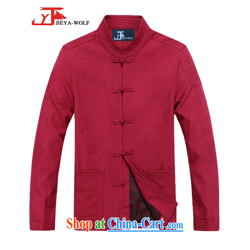 Cheng Kejie, Jacob - Wolf JIEYA - WOLF new kit Chinese men's cotton long-sleeved jacket Spring and Autumn men with stylish casual China wind Kit red 165_S