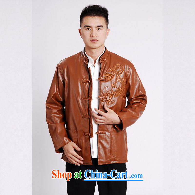 An Jing Tang replacing men long-sleeved jacket Tang fitted T-shirt men's leather jacket water marten hairs Tang with leather jacket and lint-free cloth yellow XXXL