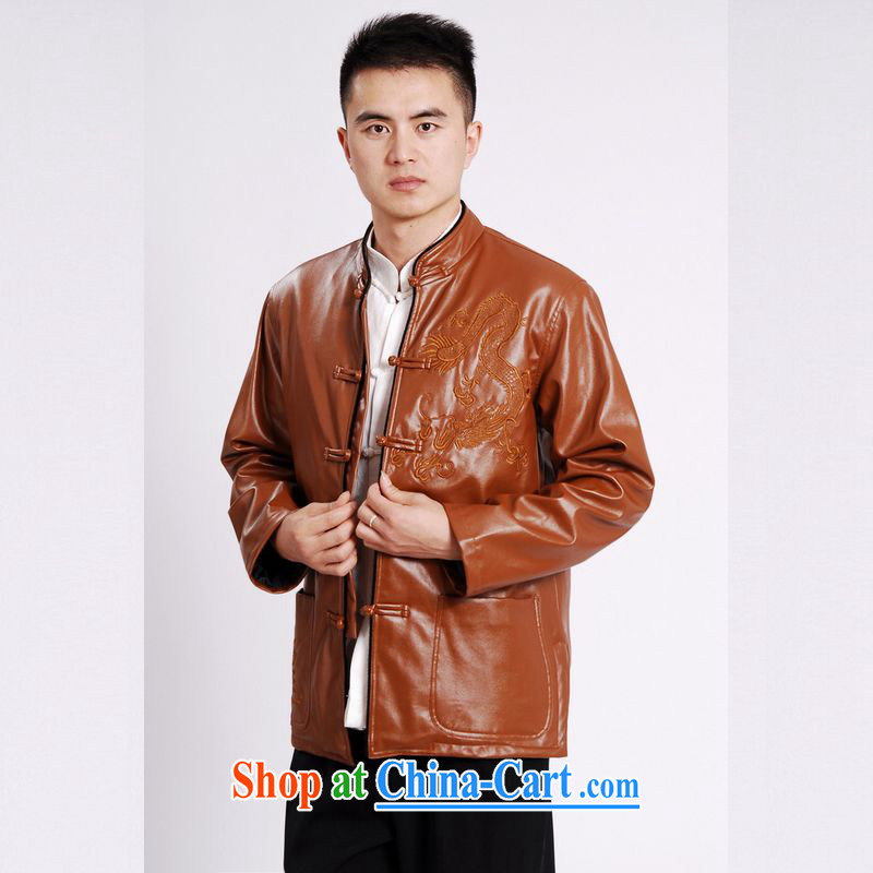 An Jing tang on men's long-sleeved jacket Tang fitted T-shirt men's leather jacket water marten hairs Tang with leather jacket and lint-free cloth yellow XXXL, an Jing, and shopping on the Internet
