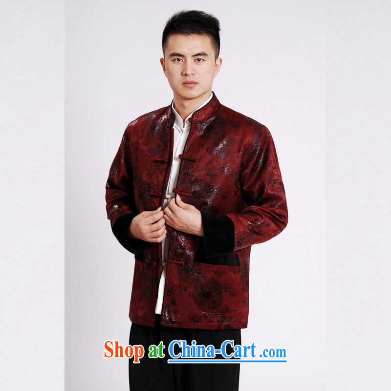 An Jing men's jacket water marten hairs Tang with the lint-free cloth Chinese men's long-sleeved jacket Chinese Dragon Chinese T-shirt wine red XXXL