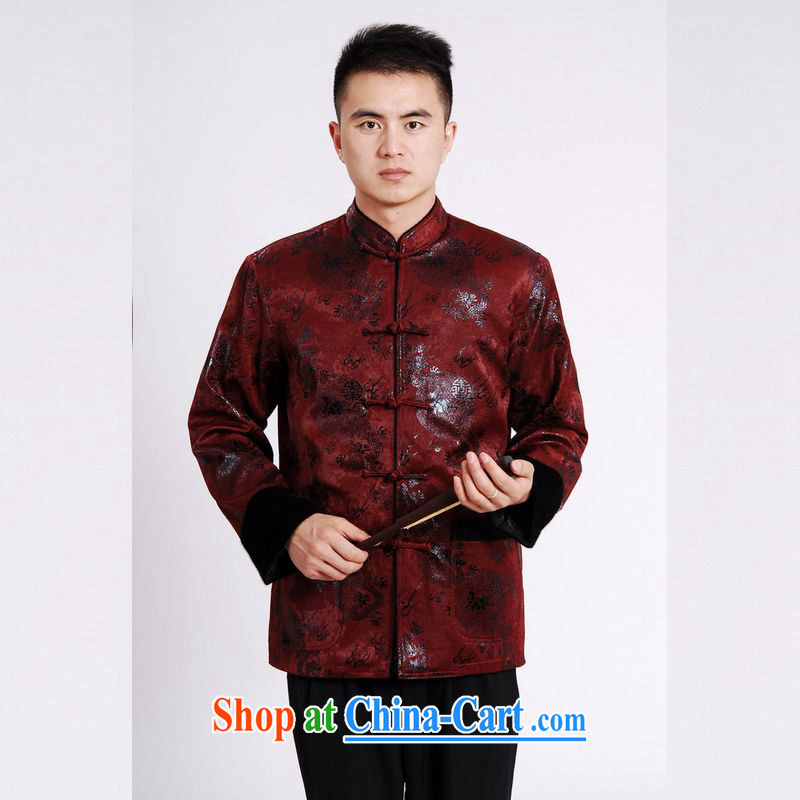 An Jing men's jacket water marten hairs tang on the lint-free cloth with short men's long-sleeved jacket Chinese Dragon Chinese T-shirt wine red XXXL, an Jing, and shopping on the Internet