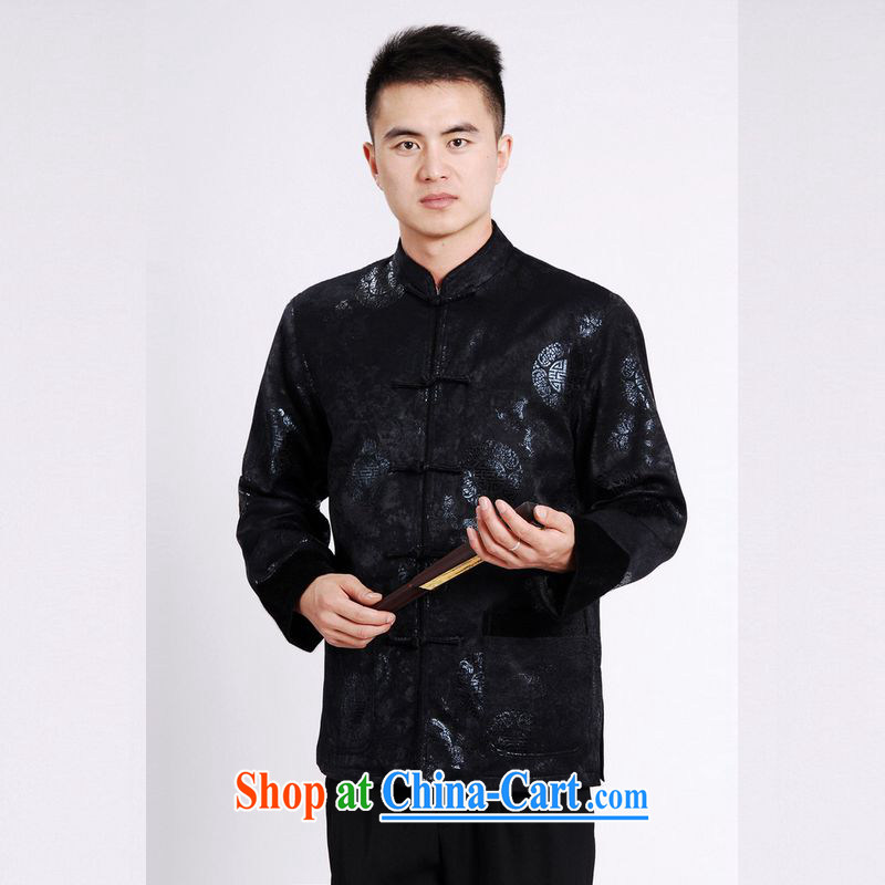An Jing Tang replacing men long-sleeved jacket Tang fitted T-shirt men's jacket water marten hairs Tang with the cotton thick dark blue XXXL