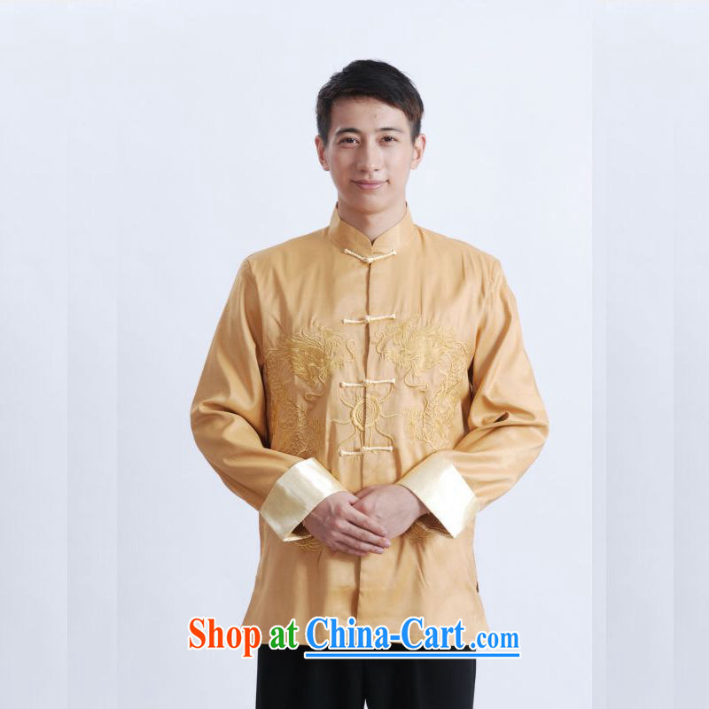 An Jing Chinese men's long-sleeved dress men Tang jackets, for embroidery Chinese dragon yellow XXXL