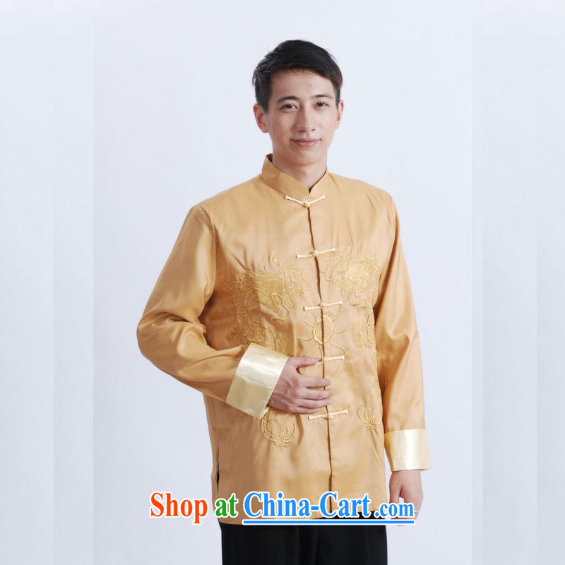 An Jing tang on men's long-sleeved dress men Tang jackets, for embroidery Chinese dragon yellow XXXL, an Jing, shopping on the Internet