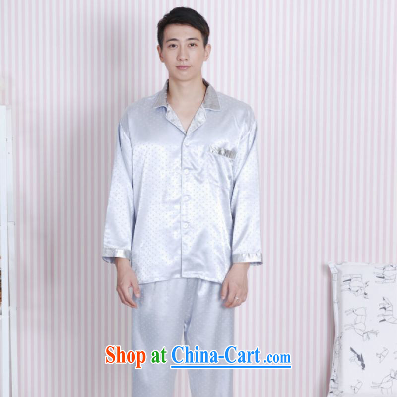 An Jing Tang replacing men long-sleeved dress men damask Tang fitted Pajama Set - A gray XXL