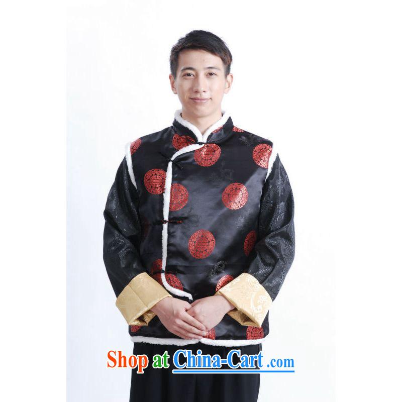 An Jing men Chinese men's T-shirt-The cotton A-A black XXL
