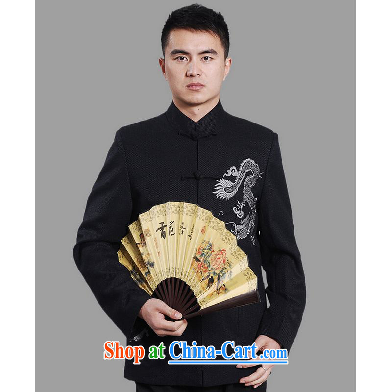 He Jing Ge men Tang jackets, For embroidery Chinese Dragon Chinese men's long-sleeved dress - blue A XXXL