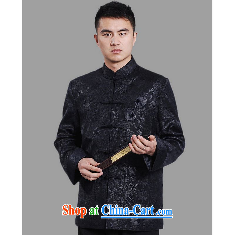 He Jing Ge Chinese men's long-sleeved dress men Tang jackets, for embroidery Chinese dragon dark XXXL