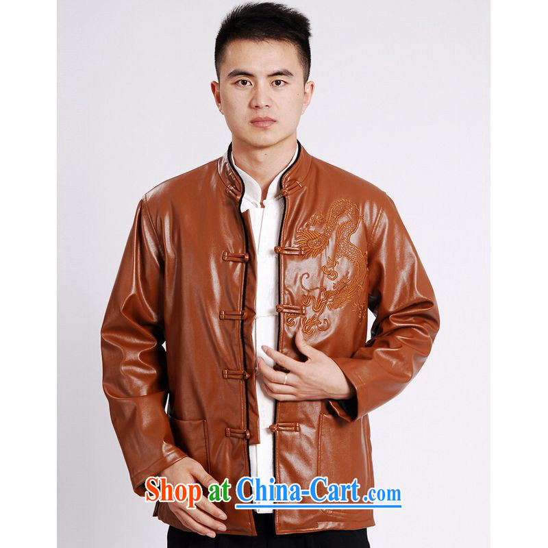 And Jing Ge Chinese men's long-sleeved jacket Tang fitted T-shirt men's leather jacket water marten hairs Tang with leather jacket and lint-free cloth yellow XXXL