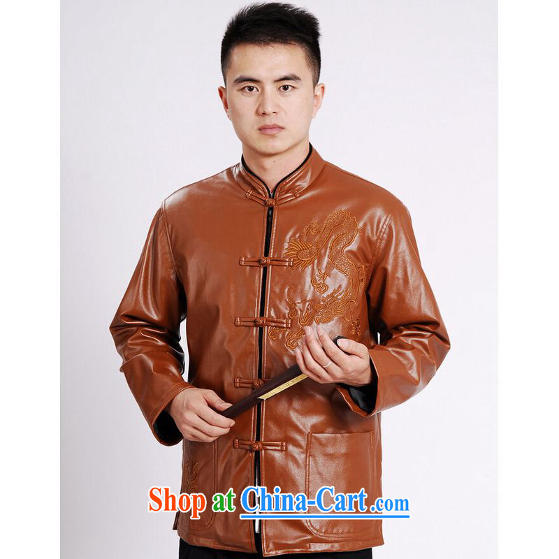 And Jing Ge tang on men's long-sleeved jacket Tang Replace T-shirt men's leather jacket water marten hairs Tang with leather jacket and lint-free cloth yellow XXXL, Miss Au King pavilion, shopping on the Internet