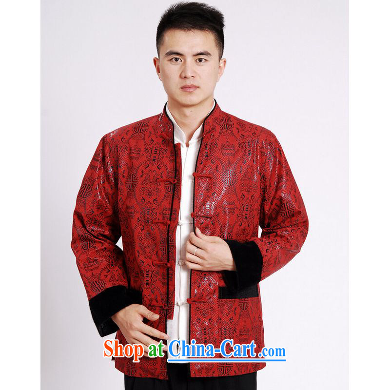 He Jing Ge Chinese men's long-sleeved jacket Tang fitted T-shirt men's jacket water marten hairs Tang with the lint-free cloth M 0040 red XXXL