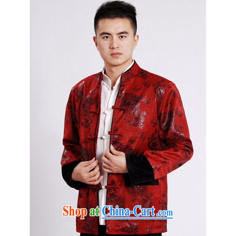 He Jing Ge men's jacket water marten hairs Tang with the lint-free cloth Chinese men's long-sleeved jacket Chinese Dragon Chinese T-shirt red M