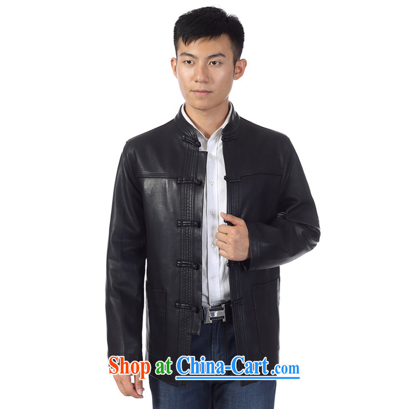 Ho information men, for Chinese leather leather jacket men's fur Haining leather jacket jacket, older men and the buckle leather jacket HGZ 8089 black 190