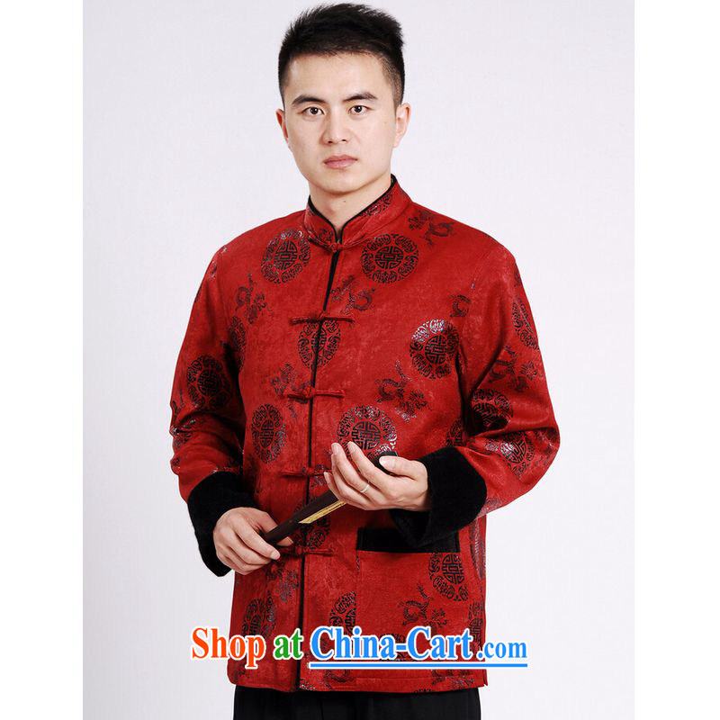 He Jing Ge Chinese men's long-sleeved jacket Tang fitted T-shirt men's jacket water marten hairs Tang with the cotton Thick Red XXXL